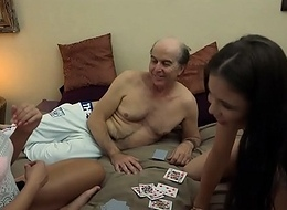 Ugly Old man vs Beautiful Youthful Girls hither hardcore threesome fuck and suck