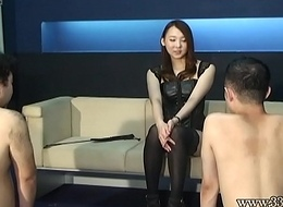 Japanese female dom Risa amazing CFNM and anal fingering