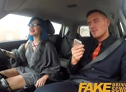 Fake Driving School Chap-fallen emo gets her ass pounded and throat fucked