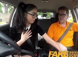 Fake Driving School Sexy Spanish Learner sucks Big Blarney for lessons