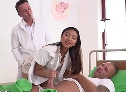 Asian excited nurse got double penetrated - Mai Thai, Thomas Stone and Csoky Collision