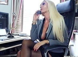 Bazaar office boss panties nylons tease