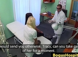 Busty les patient fingering nurse during exam