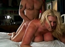 Beautiful big tits blonde age-old spunker enjoys a sticky facial cumshot
