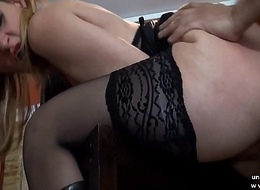 Of age french cougar in stockings analyzed with jism to mouth