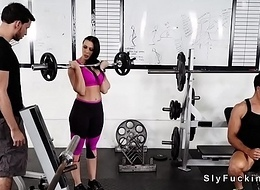 Huge tits gf big Daddy bf at the gym