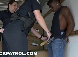 BLACK PATROL - Roughneck Gets Busted By MILF Cops and Punished with Sex