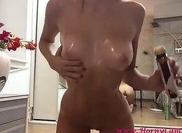 light-complexioned goddess full body oil on hd webcam