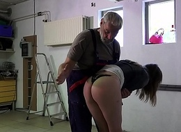 Such an innocent petite youthful cum-hole for an old horny hairy grandpa