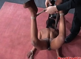 Ebony sub restrained in many positions