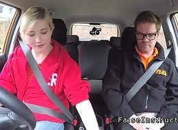 Fake driving instructor lets blonde fuck