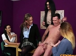 CFNM teachers tugging and stroking dick