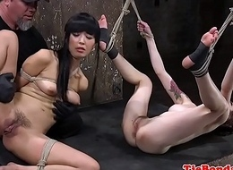 Self-effacing bdsm trio frigged after oral