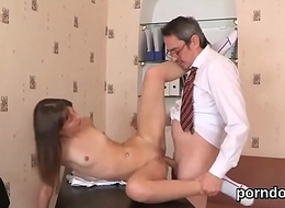 Kissable schoolgirl acquires tempted and plowed by her older school