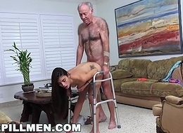 BLUE PILL MEN - Granddad Popping Pills with the addition of Fucking Tight Latina Teen Pussy!