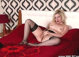Horny blonde wanks in sheer sulky nylons